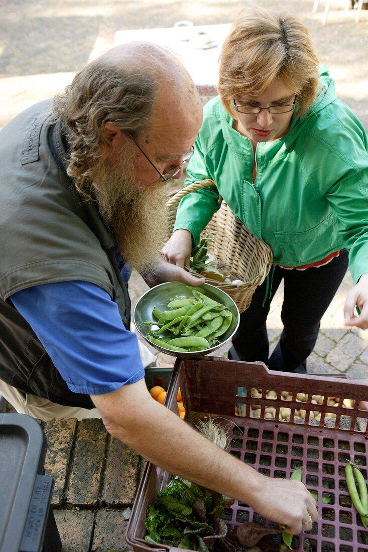 Woman buying organic peas at a market