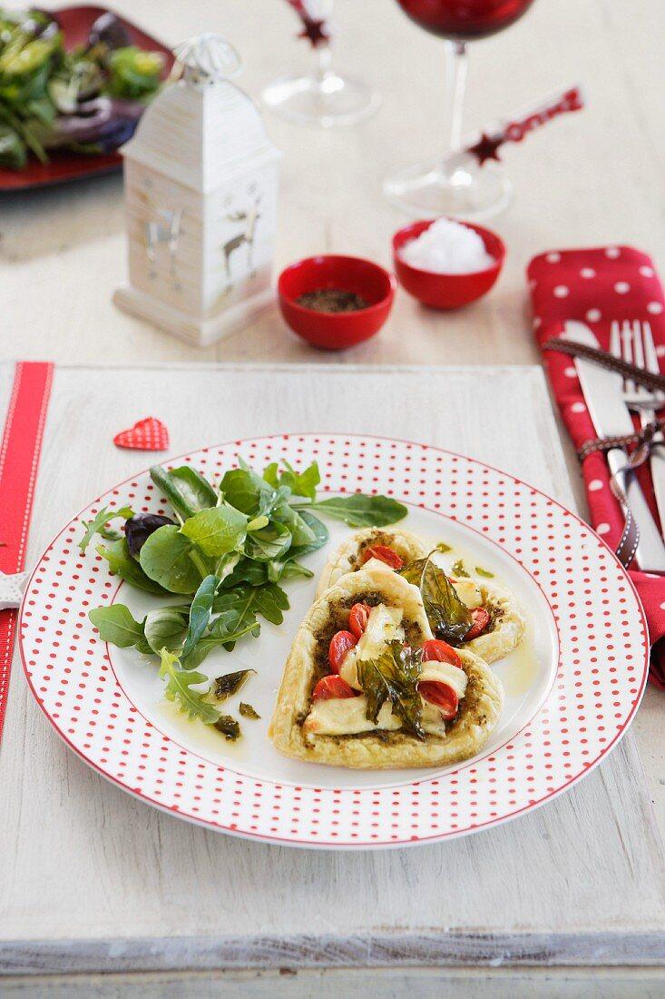 Heart-shaped vegetable tartlets