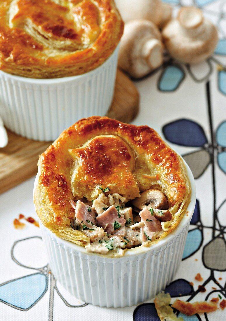 Chicken, ham and mushroom pot pie