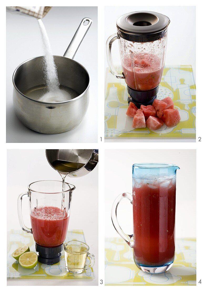 Making watermelon drink