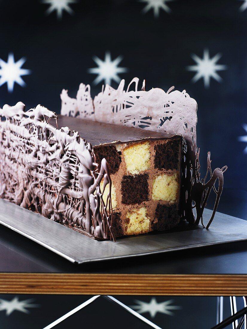 Battenberg style cake for Christmas (variant of Bûche de Noël)