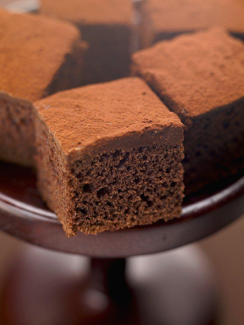 Brownies on cake stand
