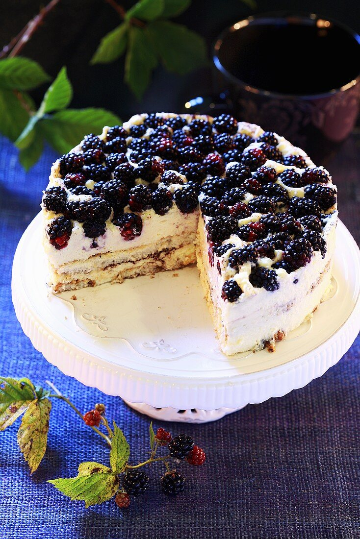 Blackberry layer cake, pieces removed