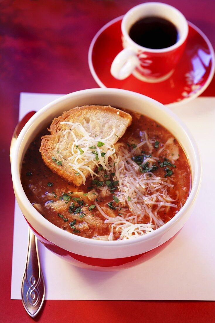 Trippa alla romana (Tripe soup with tomatoes and Pecorino)