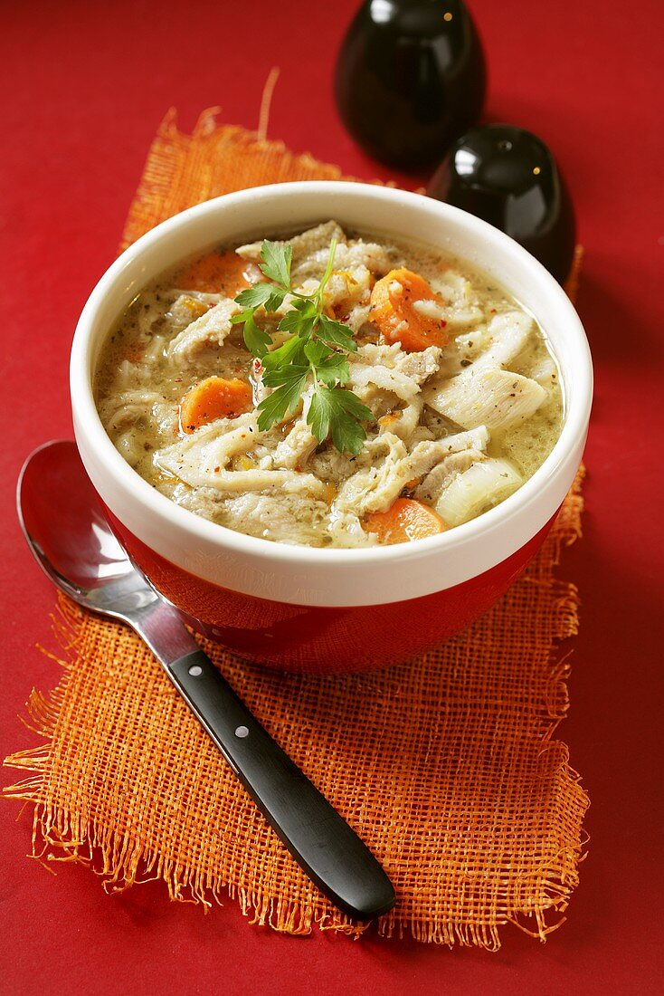 Spicy tripe soup with carrots