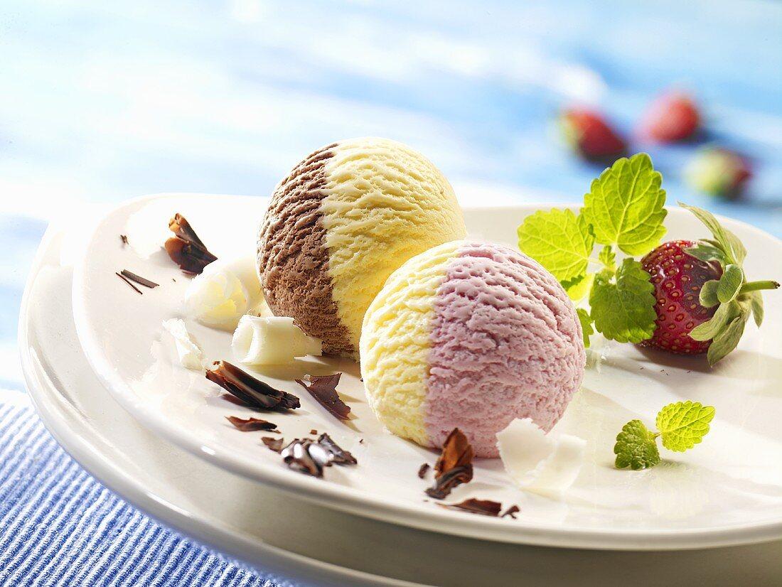 Two scoops of neapolitan ice cream
