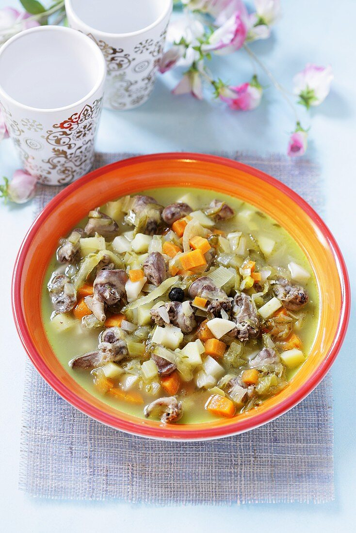 Cucumber soup with offal