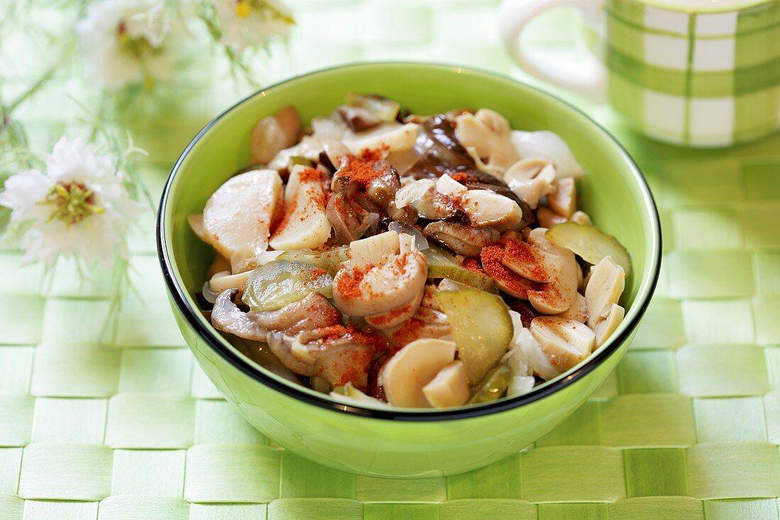 Salad of pickled vegetables and mushrooms