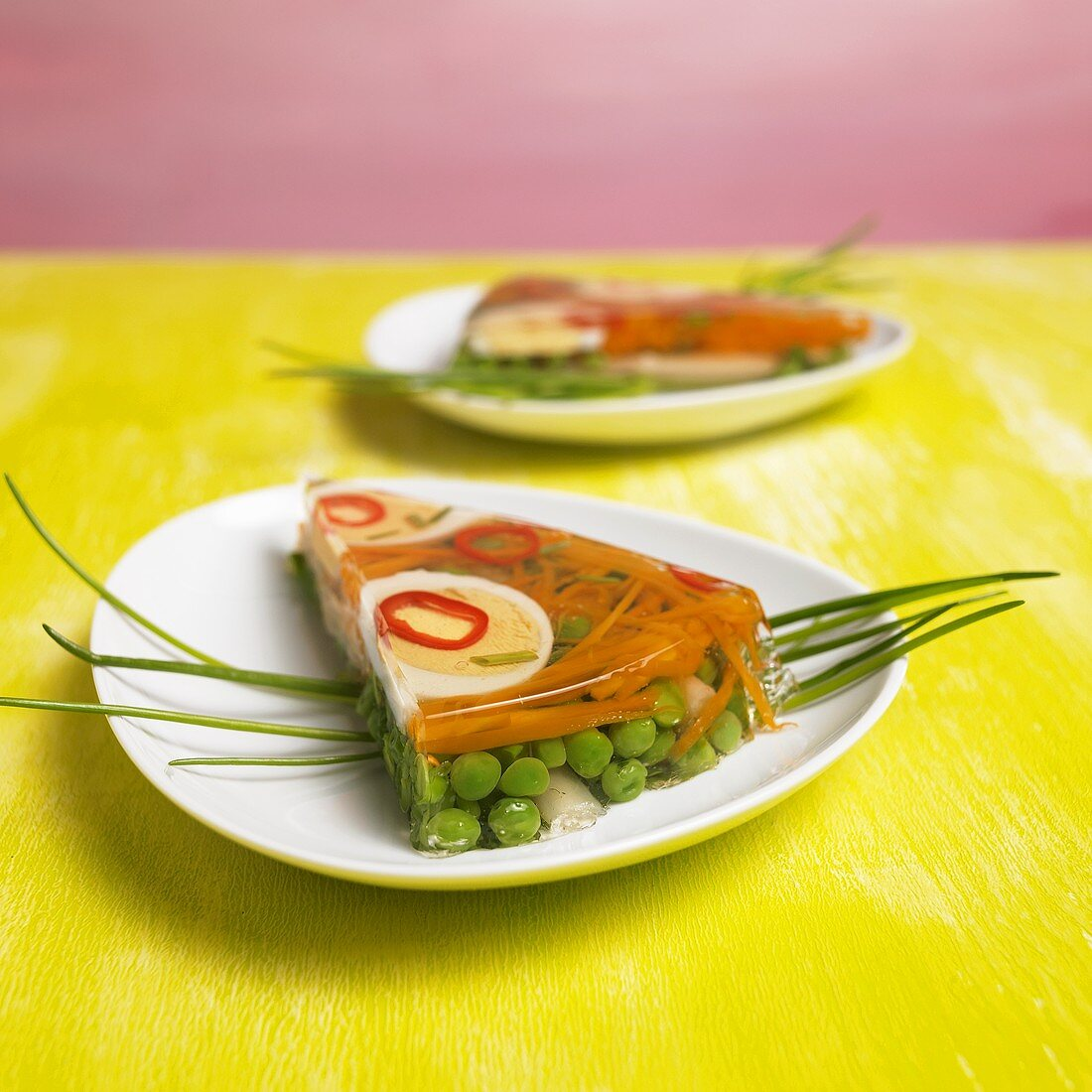 Mixed vegetables in jelly with egg