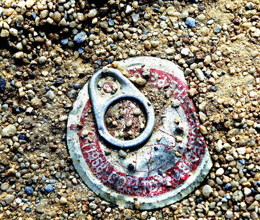 Food tin lid in gravel