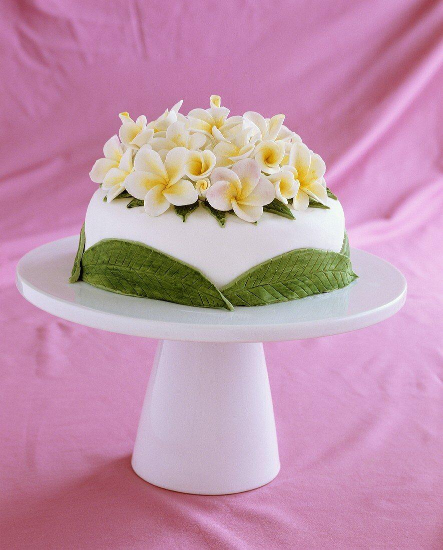 Wedding cake with almond cream and sugar flowers