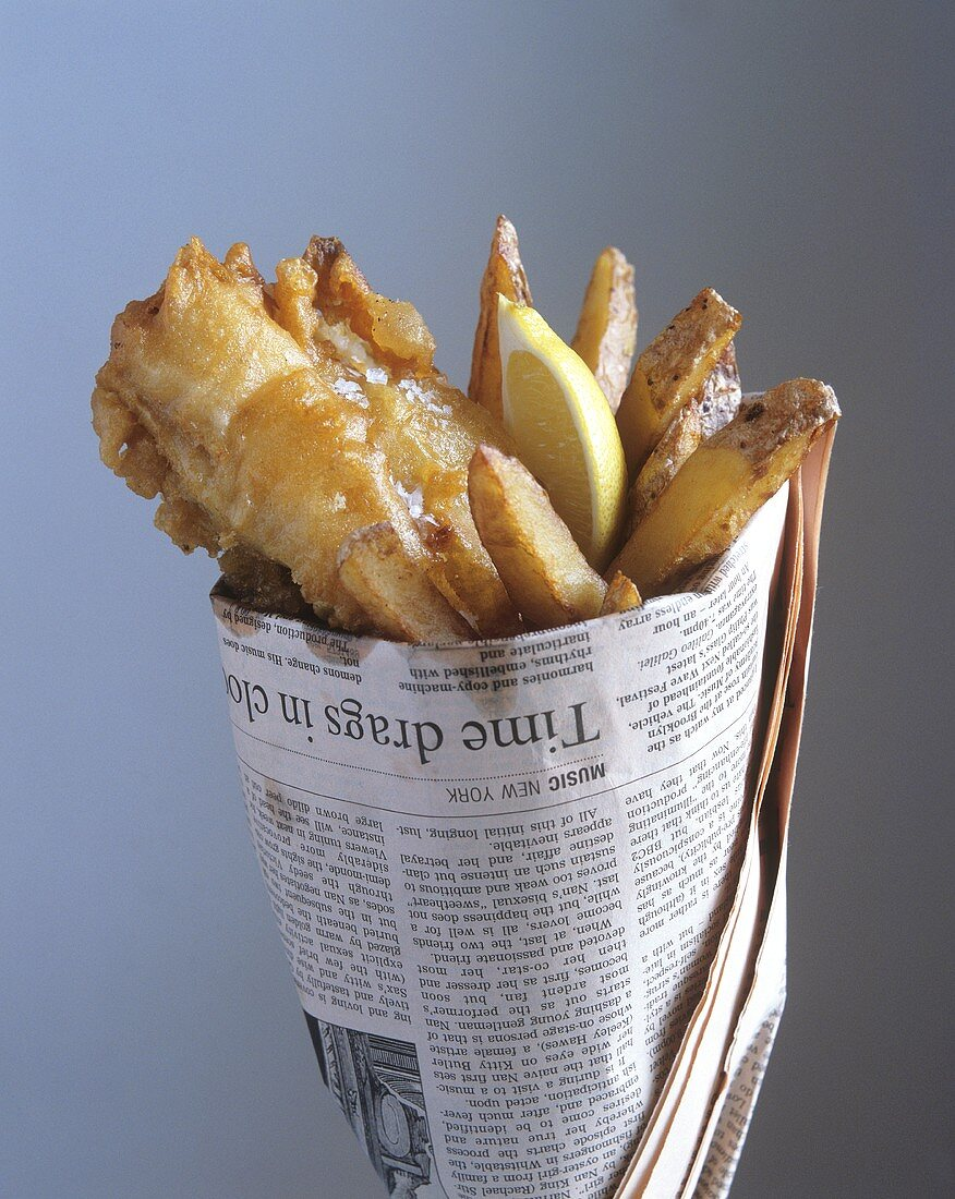 Fish and Chips in Zeitungspapier