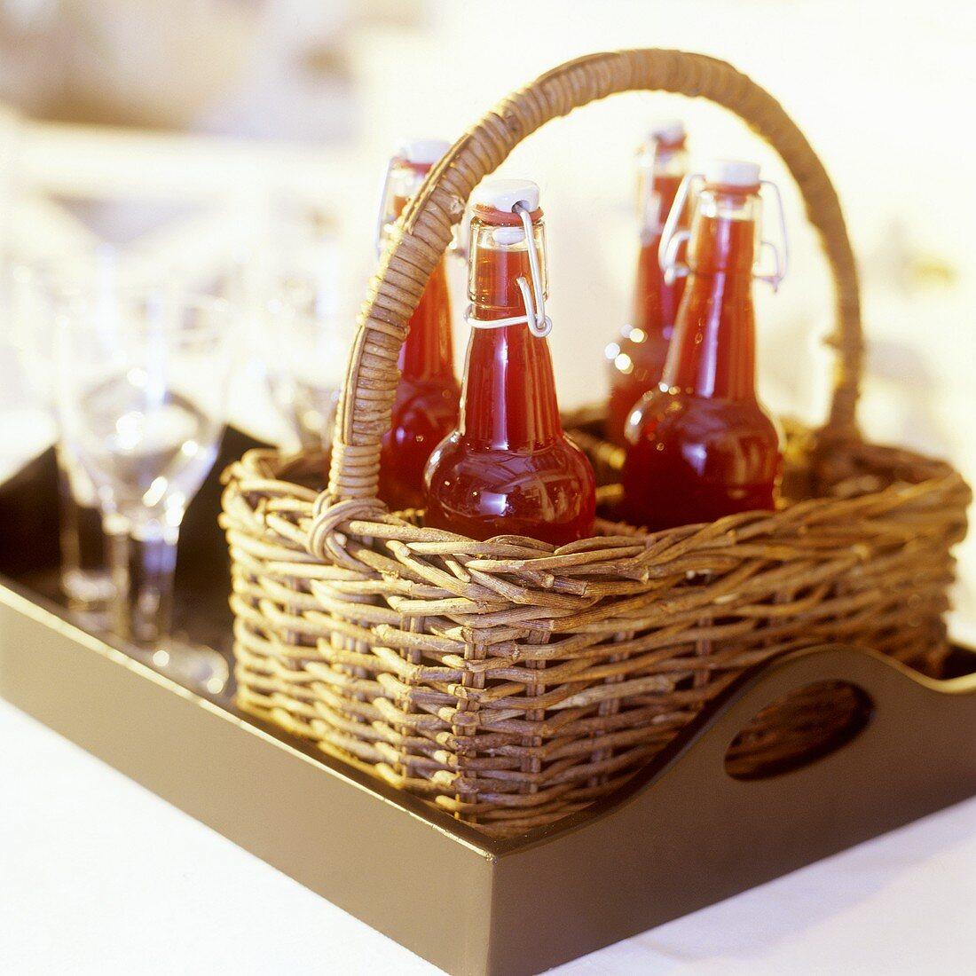 Cranberry juice in swing top bottles