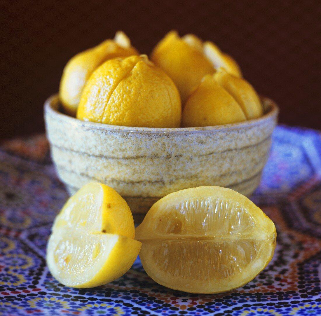 Lemons ready for pickling in brine (Morocco)