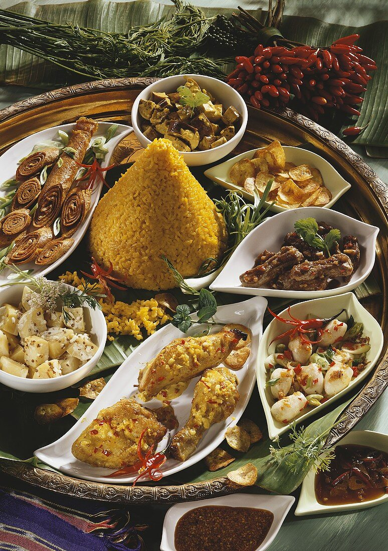 Festive meal with rice and Asian specialities