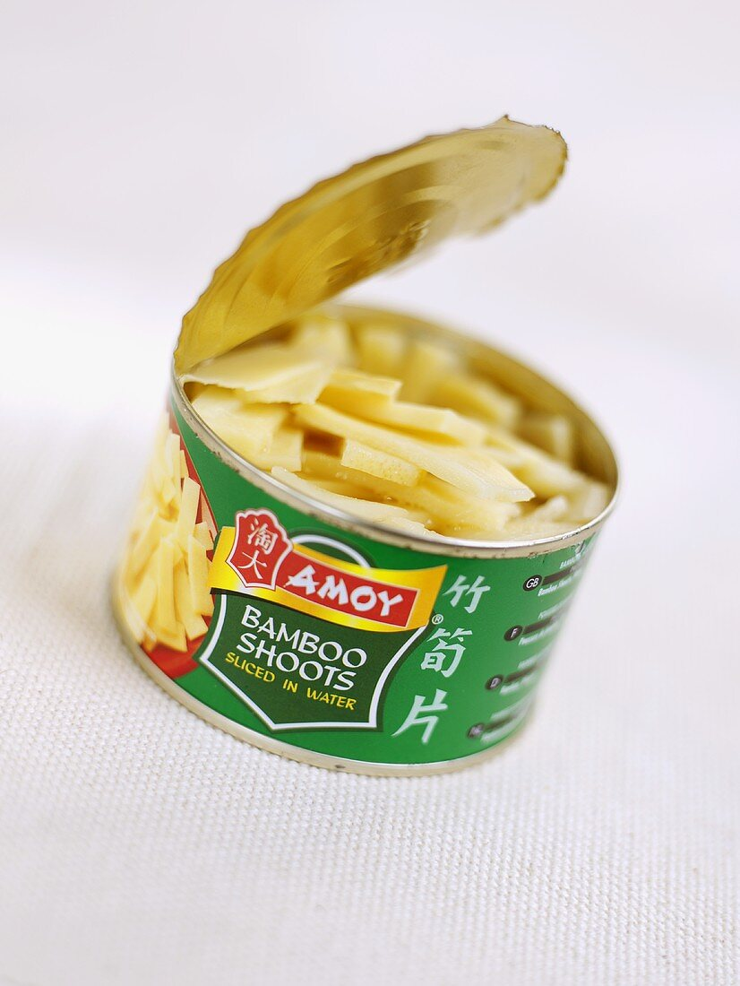 Bamboo shoots in an opened tin