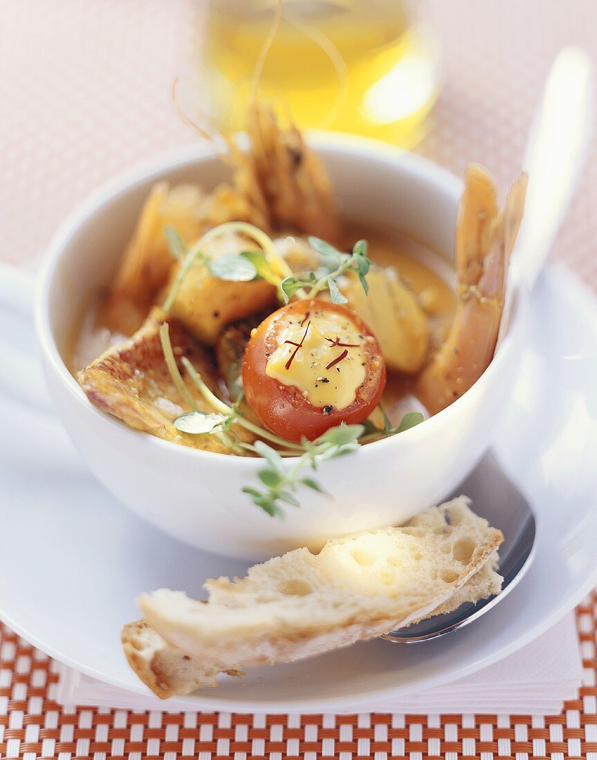 Bouillabaisse with rouille tomatoes