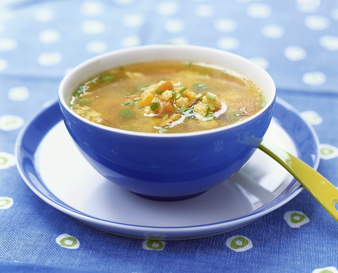 Chicken egg flower soup with  pasta stars