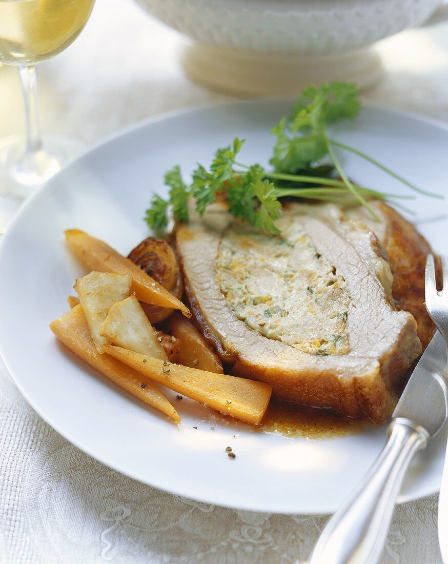 Stuffed veal breast with braised vegetables