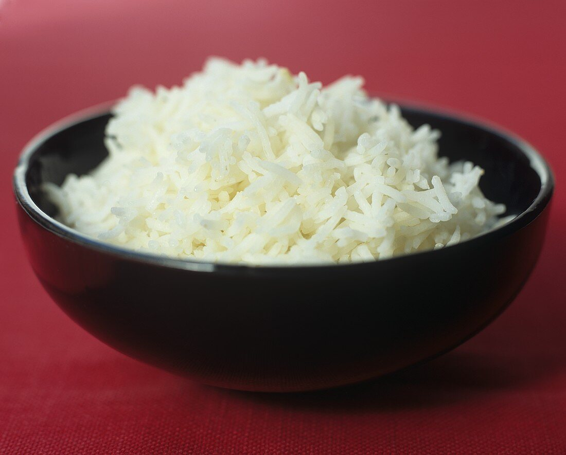 Bowl of cooked basmati rice