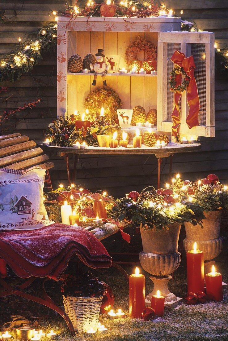 Christmas decorations in garden