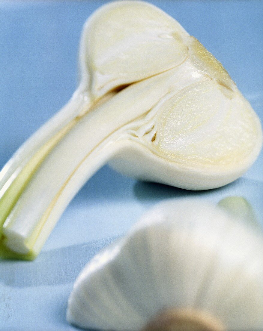Halved garlic bulb