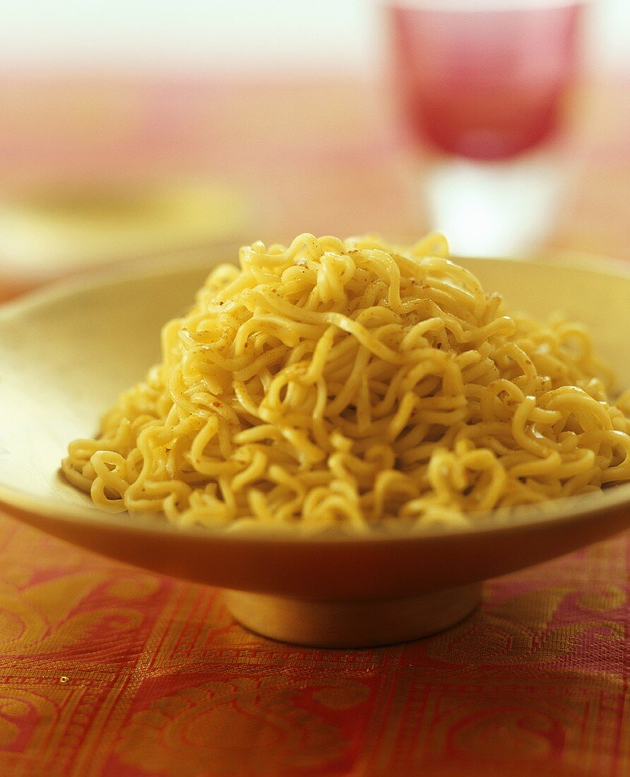 Noodles with chilli in a bowl