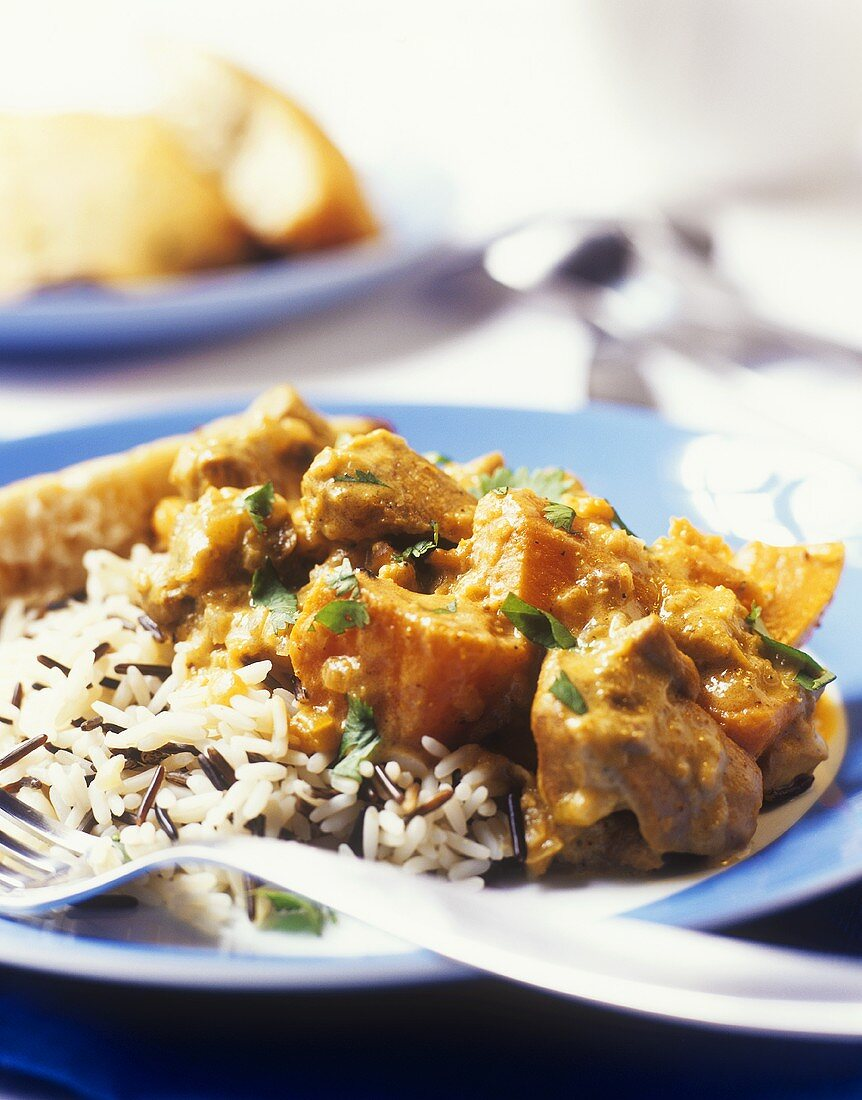 Lamb and sweet potato curry on wild rice