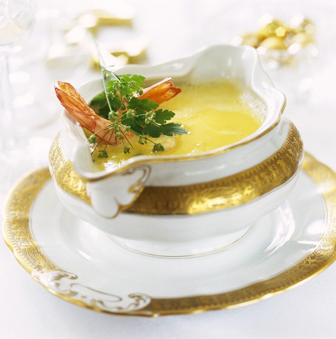 Fish sauce in elegant sauce-boat