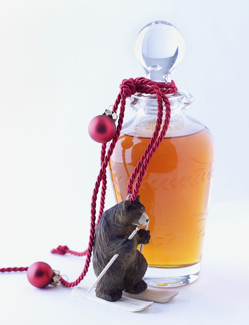 A bottle of honey liqueur to give as a Christmas gift
