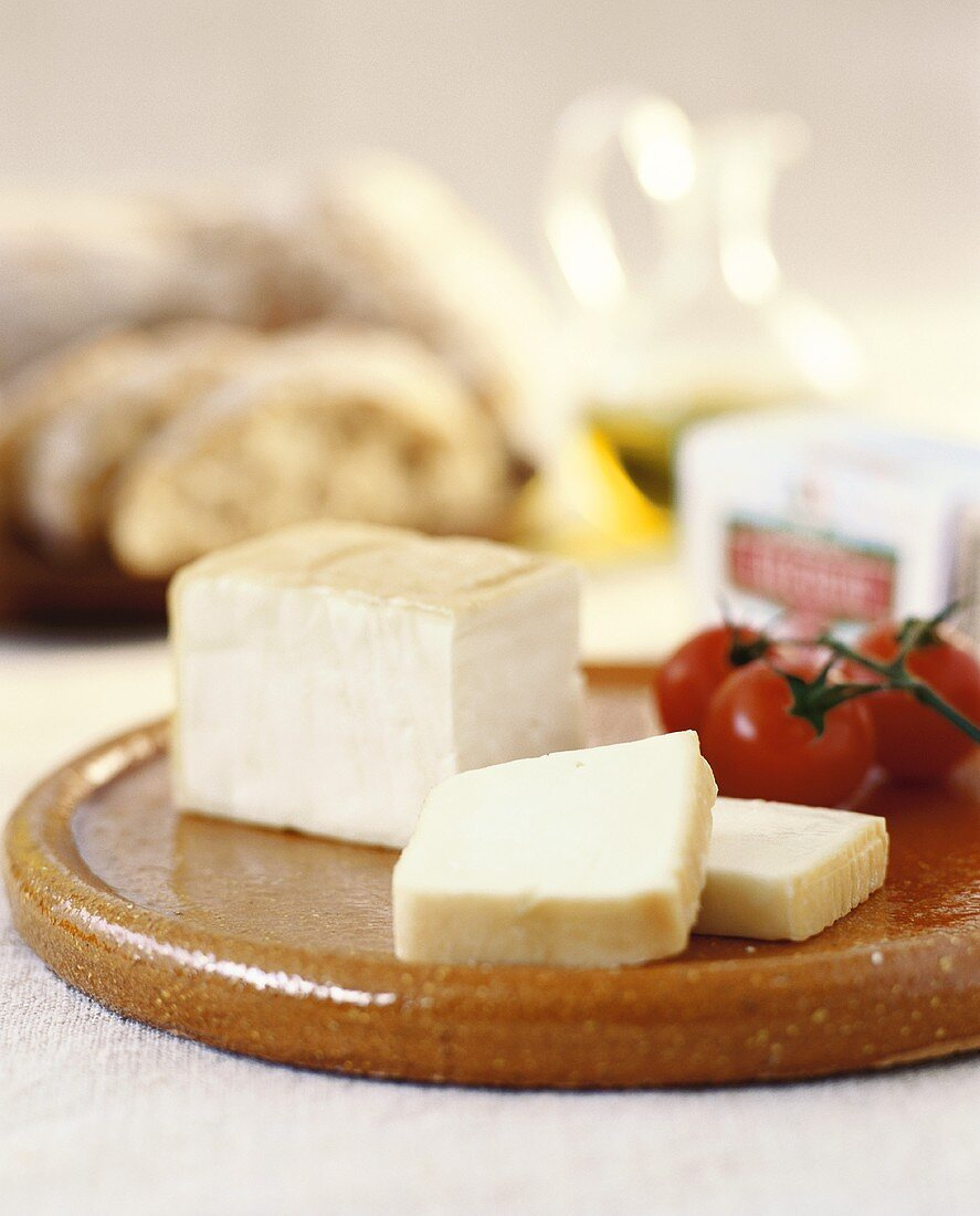 Plate of cheese for hearty snack