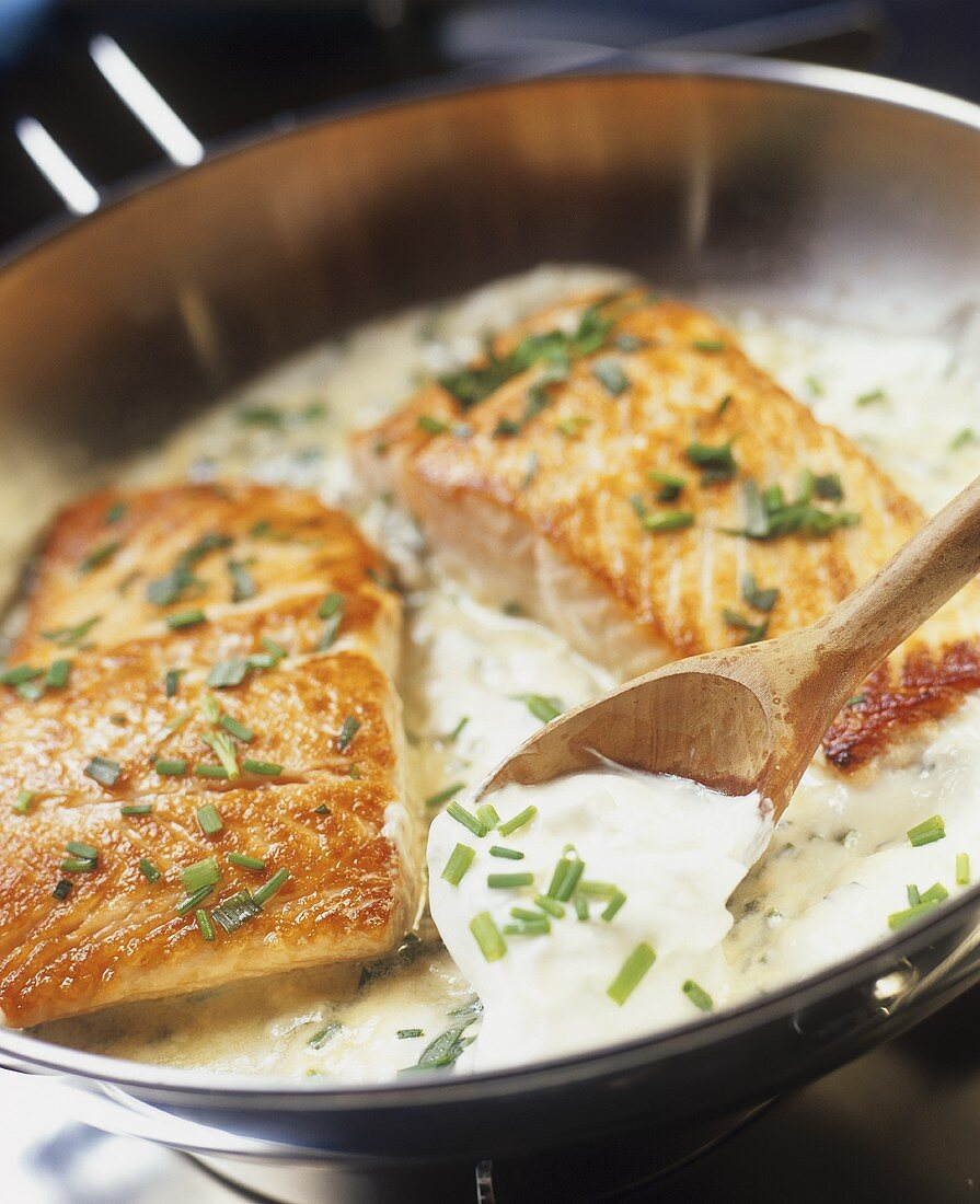 Fried salmon steaks with sour cream