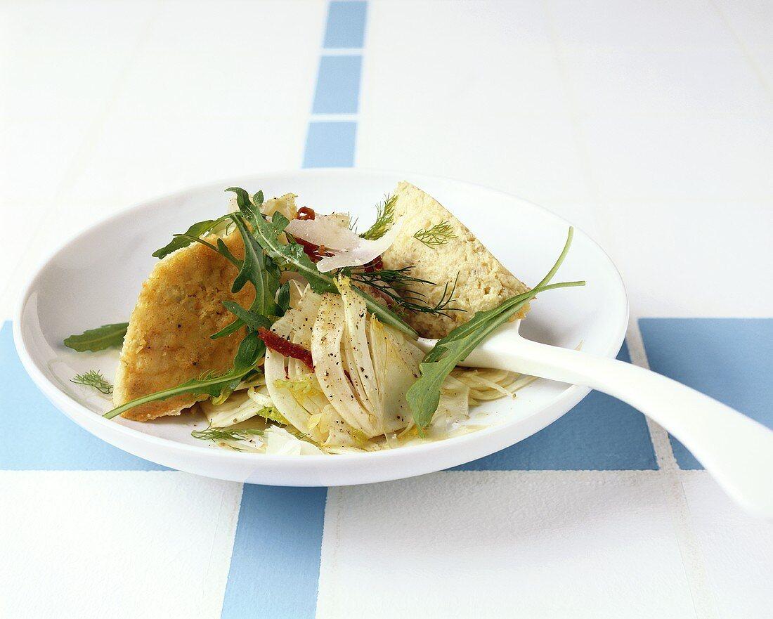 Fennel flan with fennel salad