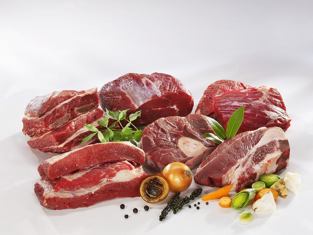 Various cuts of beef for stewing