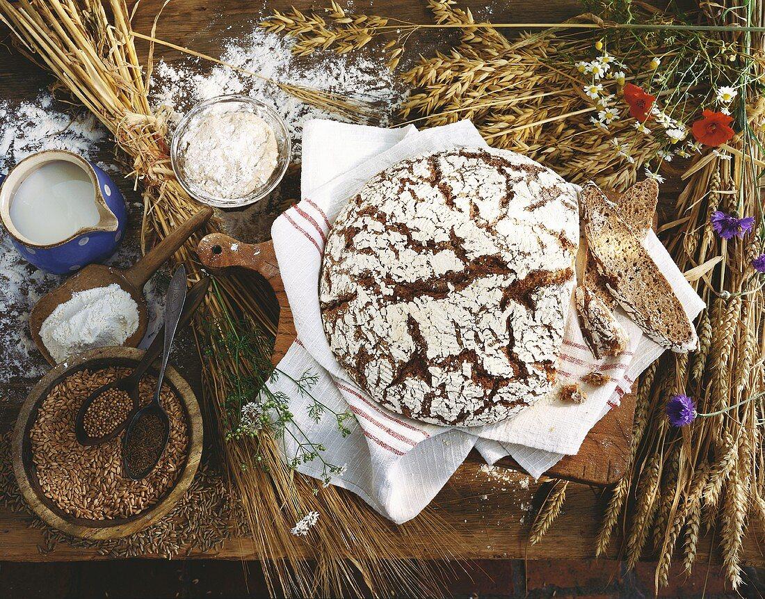 Rye and wheat sourdough bread