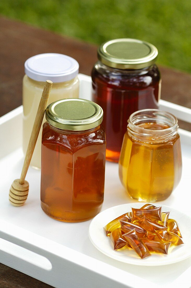 Various types of honey
