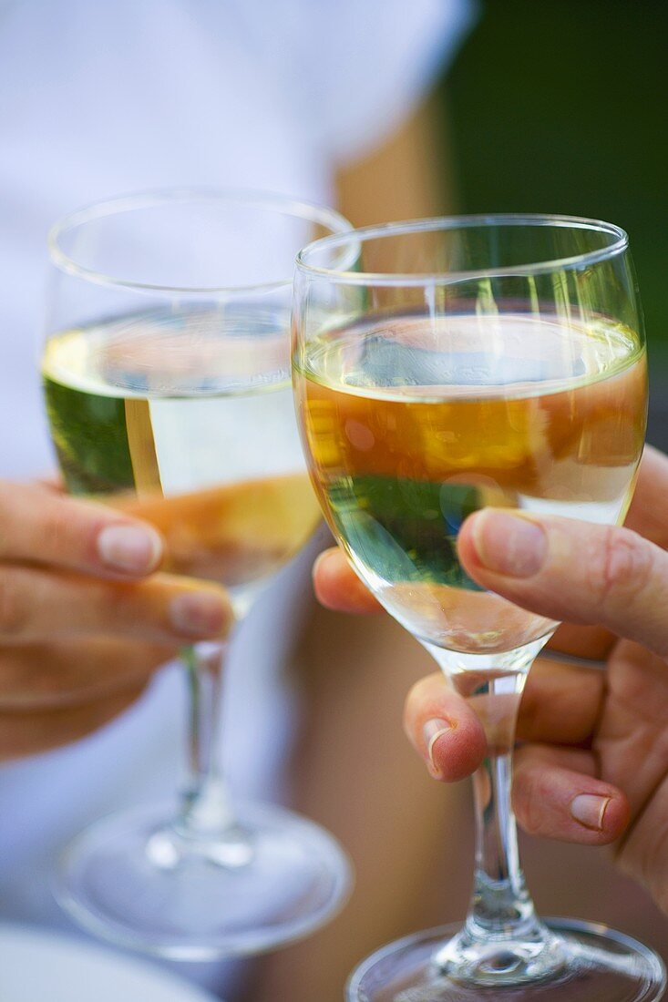Clinking white wine glasses together