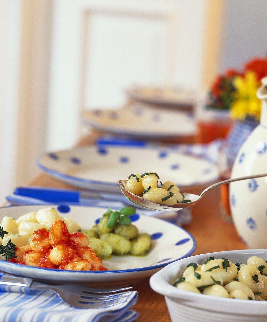 Potato gnocchi with four sauces