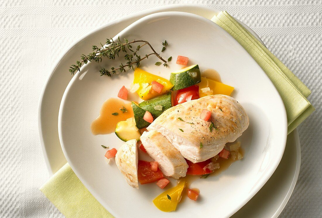 Chicken breast fillet with Provençal vegetables