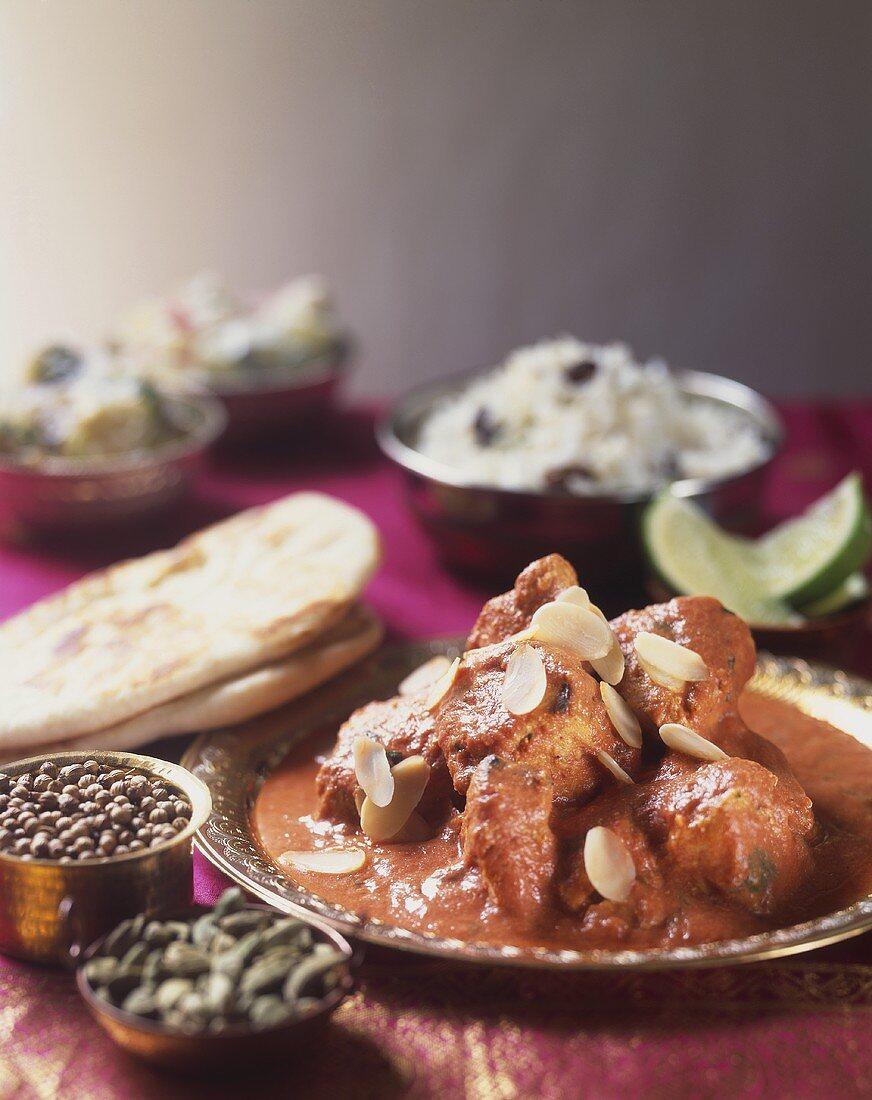 Chicken Tikka Masala with flaked almonds