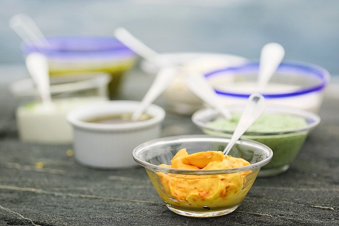 Various spicy sauces and dips