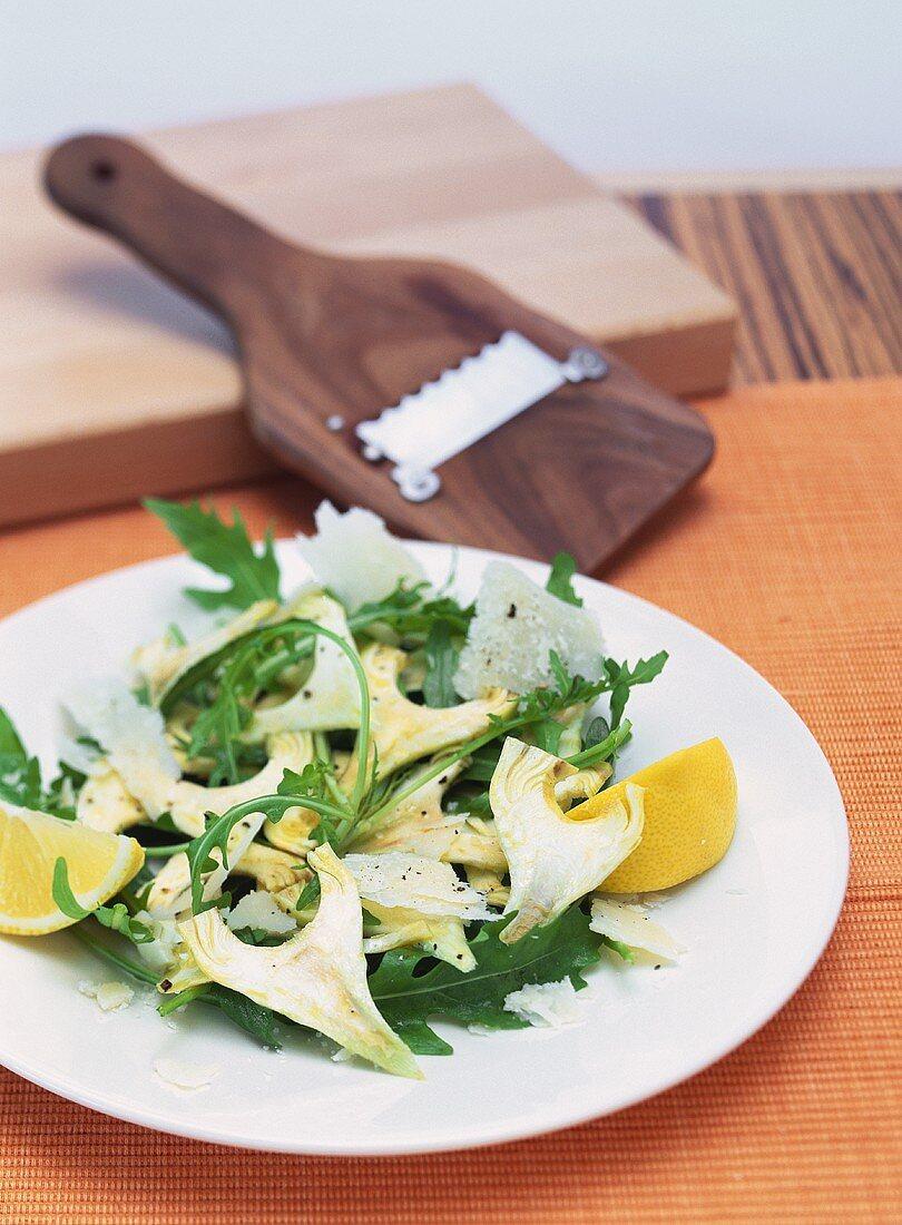 Artichoke salad with rocket and Parmesan