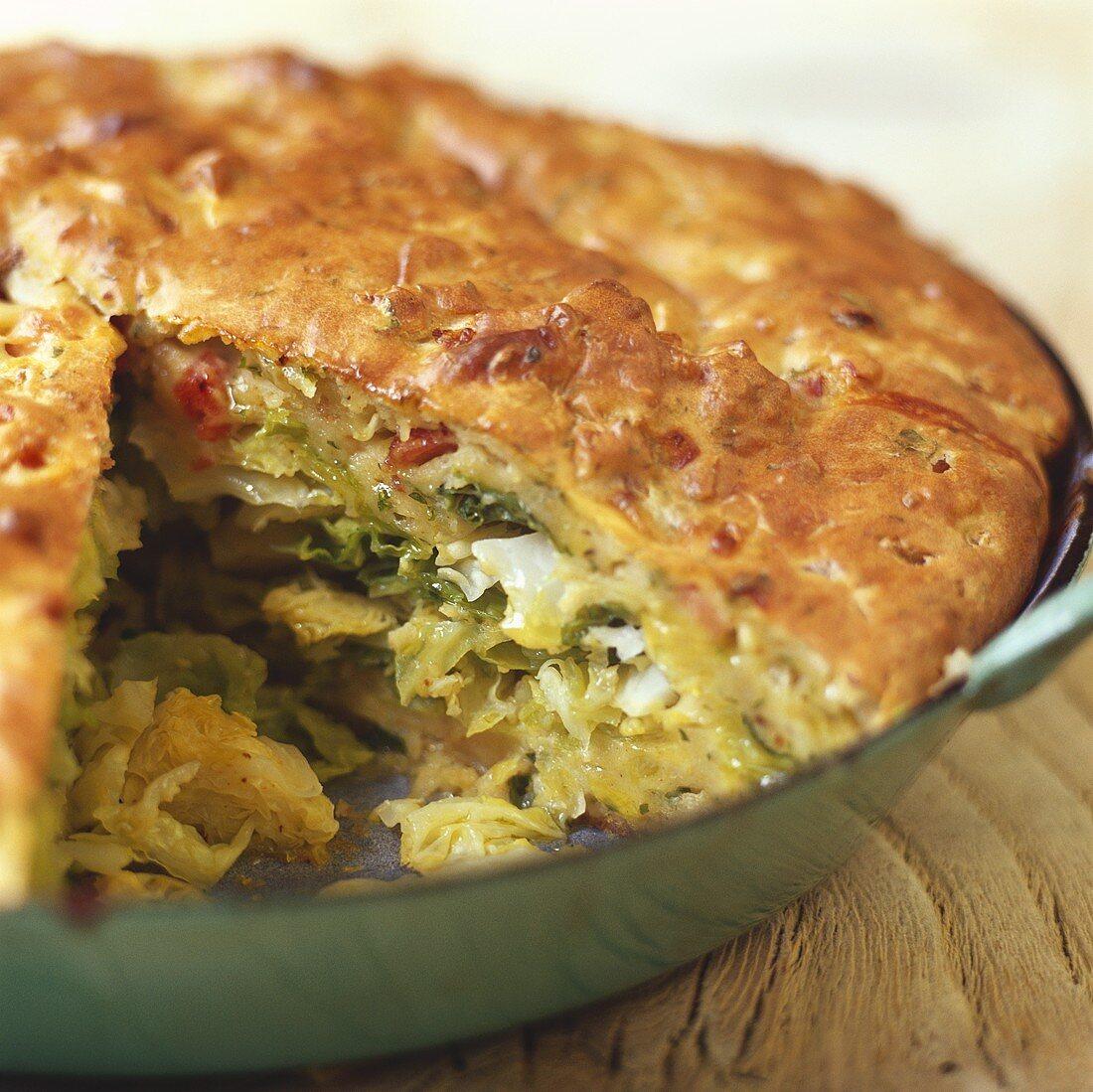 Spicy savoy cabbage pie