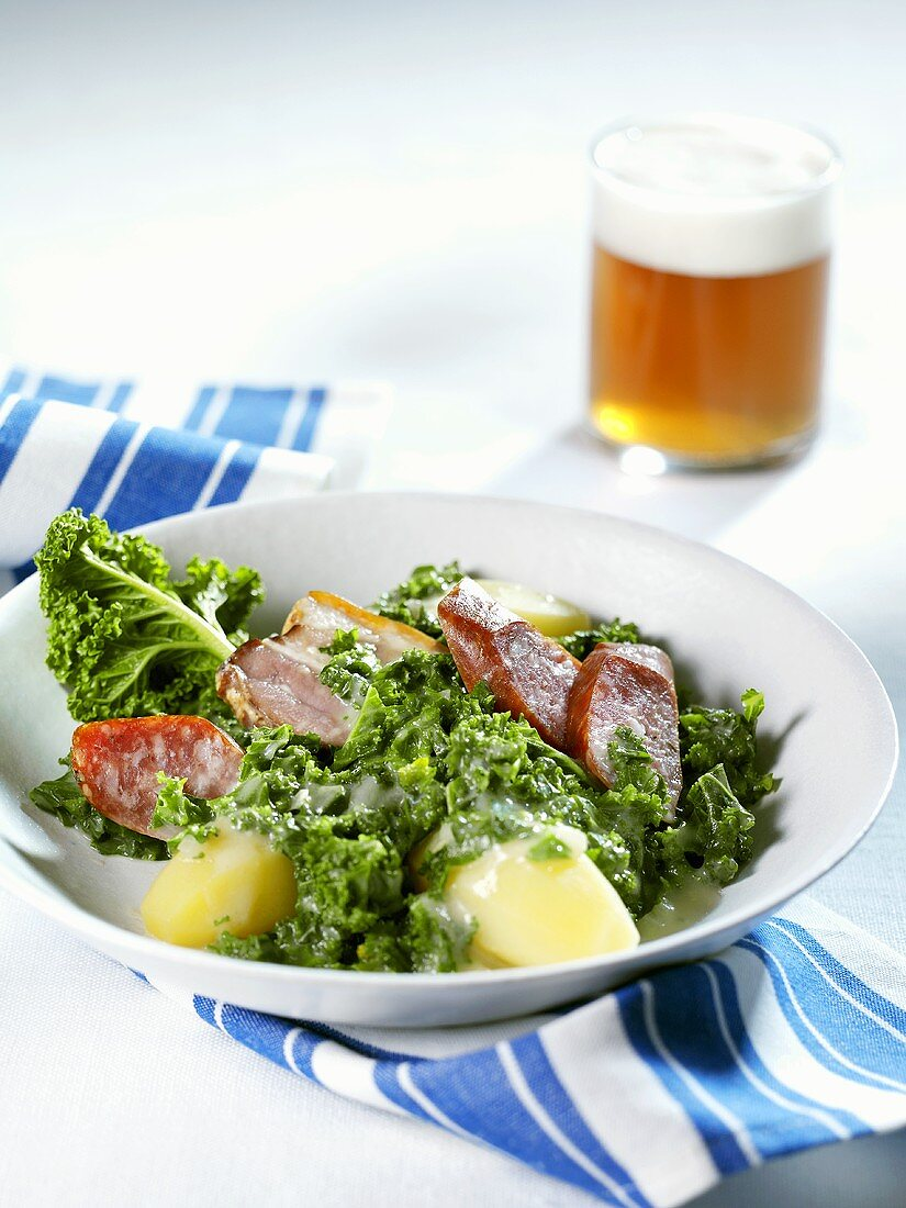 Kale with Pinkel (a type of sausage)