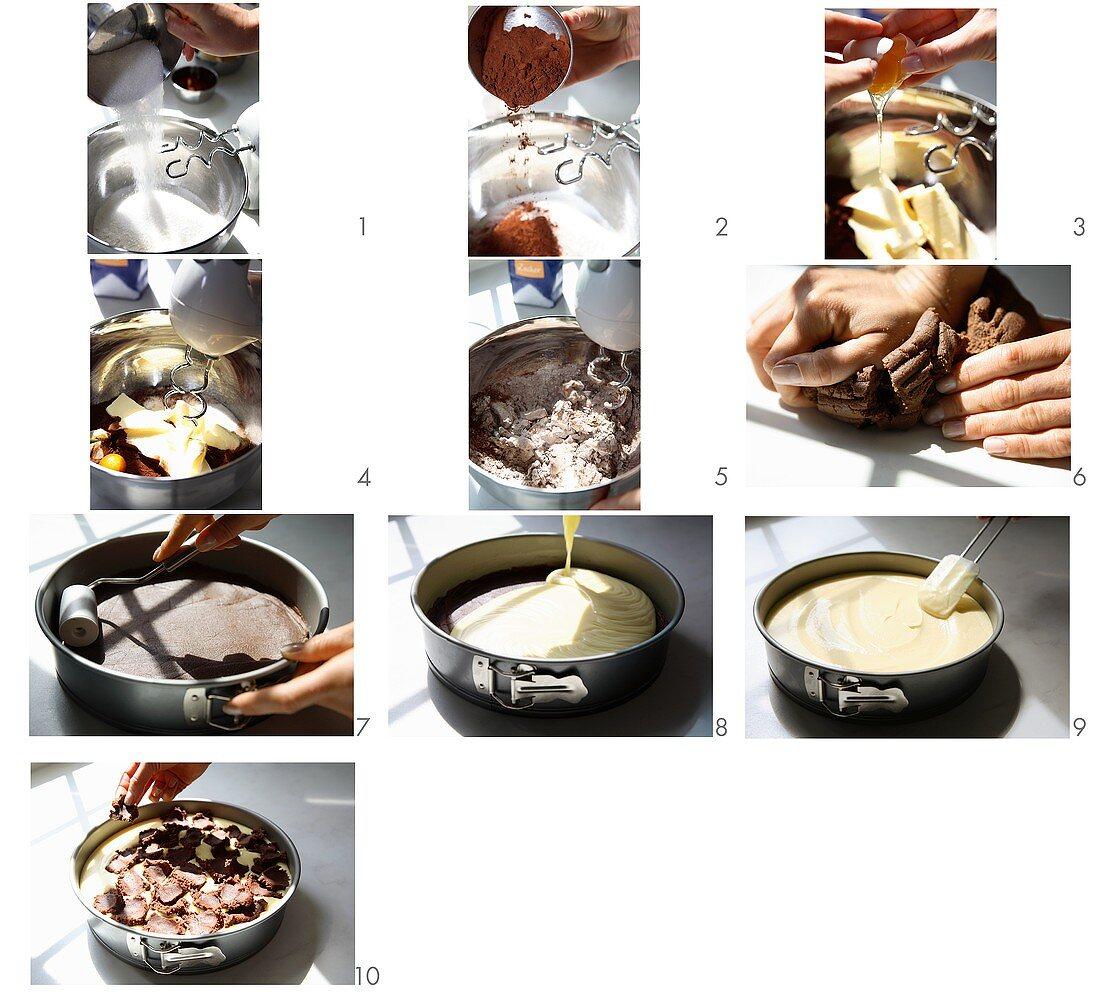 Making a Russian chocolate cheesecake