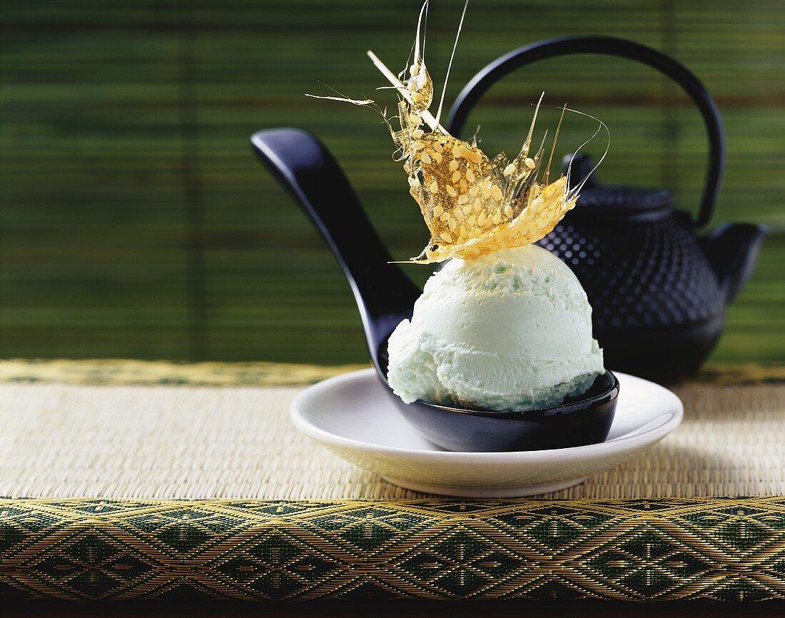 Green tea ice cream with sesame praline