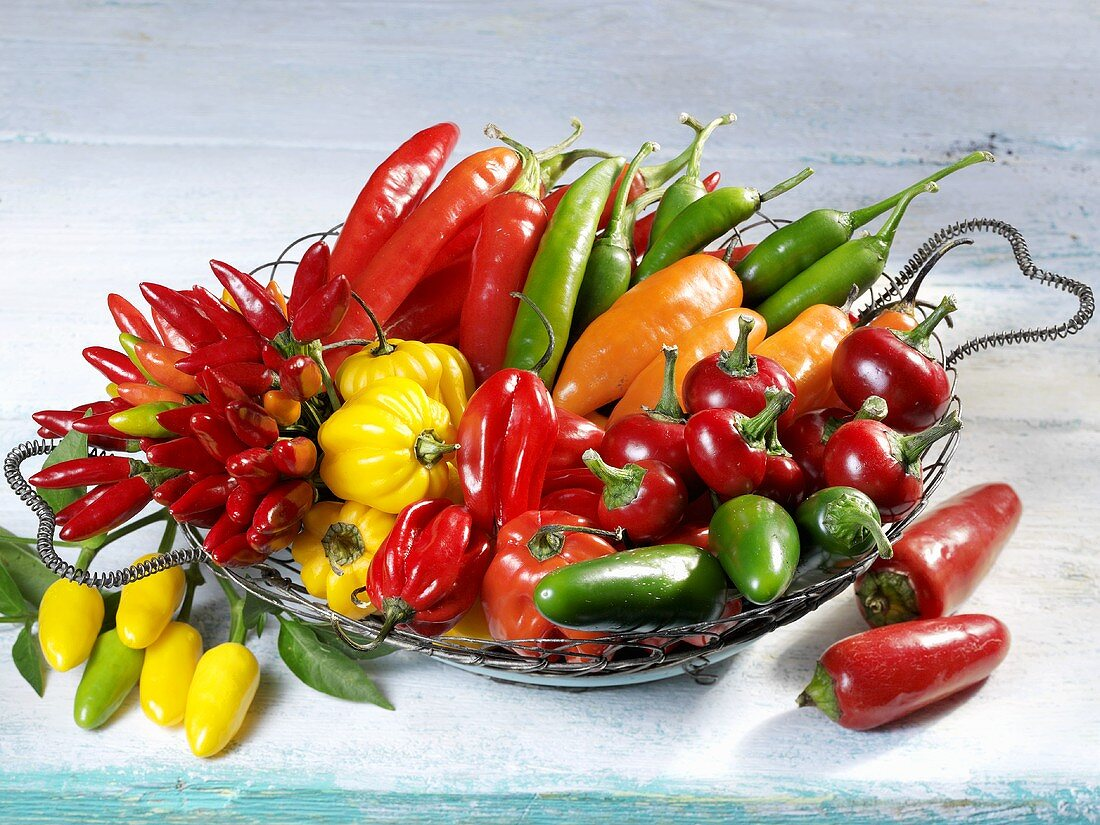 Mixed chillies in a basket