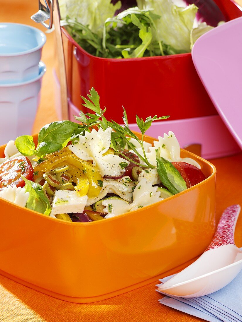 Pasta salad with vegetables and feta for a picnic