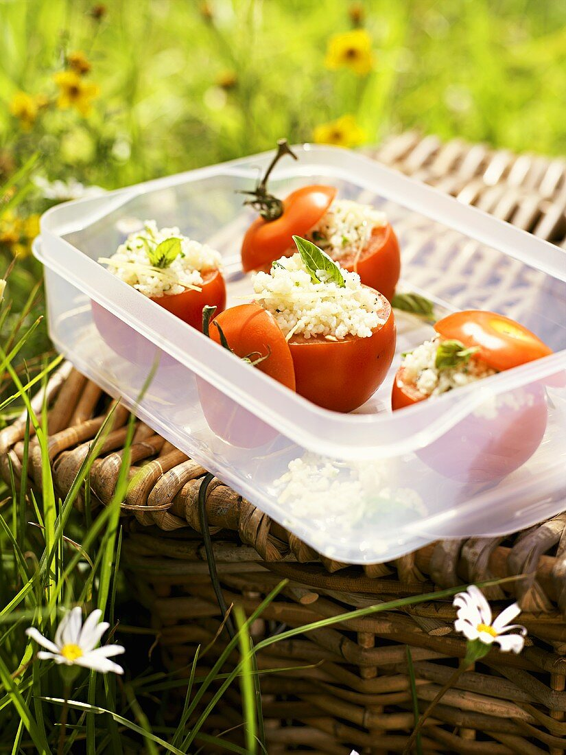 Tomatoes stuffed with millet salad