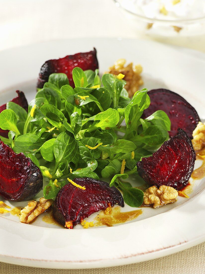 Corn salad with roasted beetroot and walnuts